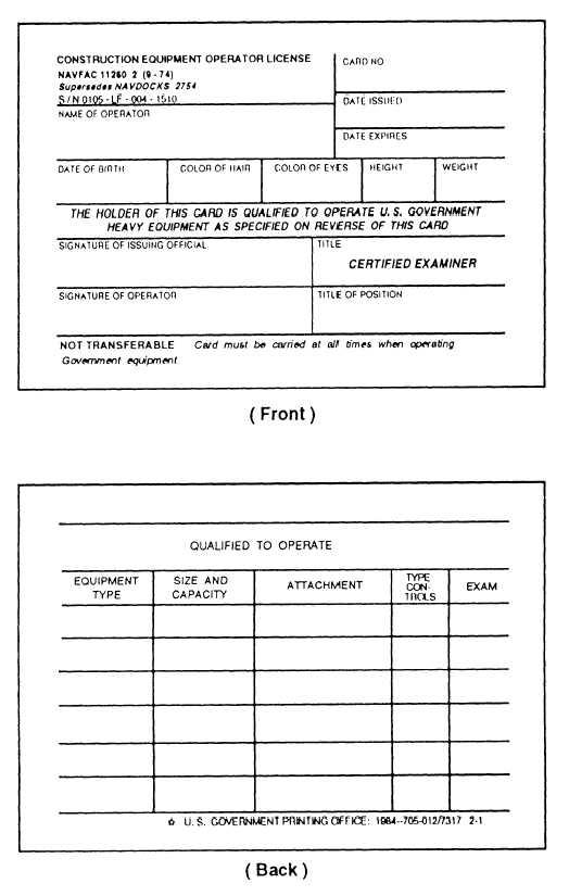Figure 6-6.-Construction Equipment Operator License, NAVFAC 11260/2.