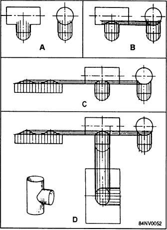 Figure 14-46.--Development of a T-joint with two cylindrical pipes ...